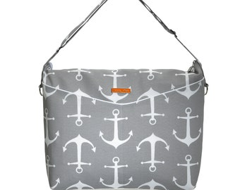 Last One!!  ANCHORS PRIVÉ Messenger Diaper Bag with Vegan Leather Water resistant / Waterproof Changing pad Stroller rings