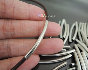 Finding - 10 pcs Silver Curve Arc Tubes 30mm x 3mm ( inside 2mm Diameter )