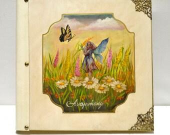 Fairy art, girl scrapbook, fairy gift, little fairy, memory book, baby album, girl album, custom baby book, fantasy photo, mythical art