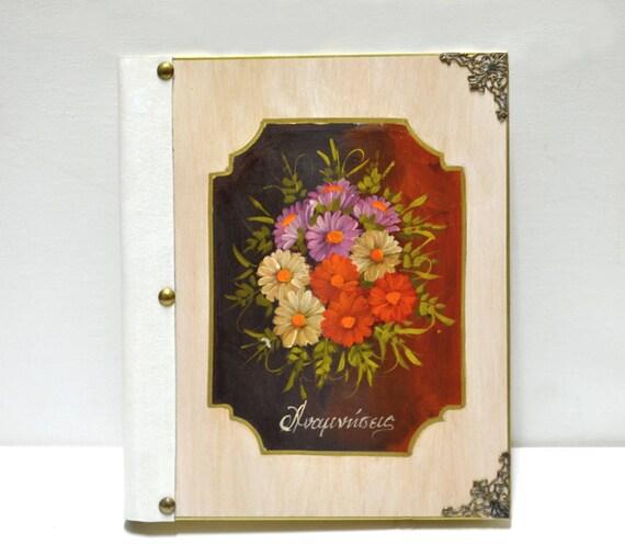 Flower scrapbook, floral cover, antique flower art, custom flower art, vibrant flowers, nature inspired art, flower photo album