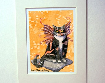 Calico Cat Art print Cat Fairy watercolor painting matted 5x7 gift idea