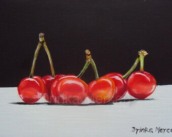 "Cherry Painting Giclee Canvas PRINT  8x12"" Fine Art Original Artwork Cherries Realistic Fruit Wall Food Art Decor"