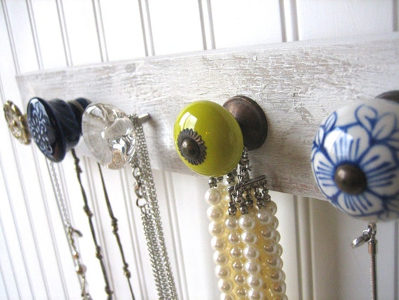 Jewelry Organizer / Necklace Holder with Chartreuse and Blue