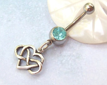 Infinity Heart Belly Ring, Infinity Belly Ring, sterling silver, belly dancer, boho, aqua, blue, simple, navel ring, tummy
