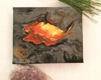 Volcanic Lava Flow - Original Handmade Miniature Canvas Gouache Painting