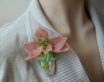 Orchid flower Mother of pearl beaded brooch. Beadwoven brooch. Handmade seed bead brooch.