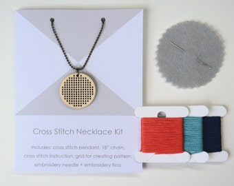 KIT | DIY Cross stitch necklace | Wearable art