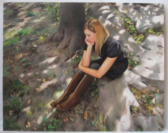 """Interlude, 16"""" x 20"""" original oil painting on stretched canvas, one of a kind, art by Kerry Brooks Simmons"""