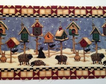 4 Yards Vintage Debbie Mumm Birdhouse Fabric Border  - OOP