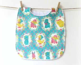 Bib for Baby, Toddler, Vintage, Turquoise, Pink, Yellow, Cat, Chick, Bunny, Poodle, Soft, Minky, Easter Basket