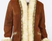 Vintage 1960's EmBrOiDeReD SHearling Trim Mens AFGHaN SuEdE HiPPiE sheepskin Rock star Coat 46 XL