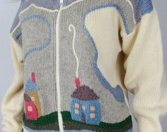 Vintage 1970's 80's Space Dyed Embroidered NOVELTY HiPPiE Wool Outdoors Sweater Jacket