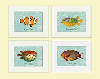 Nautical Decor, Fish Illustrations, Beach Art, Set of 4, Vintage Fish Illustrations, Beach House, Nautical pictures, Ocean Sea Fish art