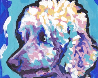 standard poodle colorful print of pop art dog painting bright colors 12x12 Lea
