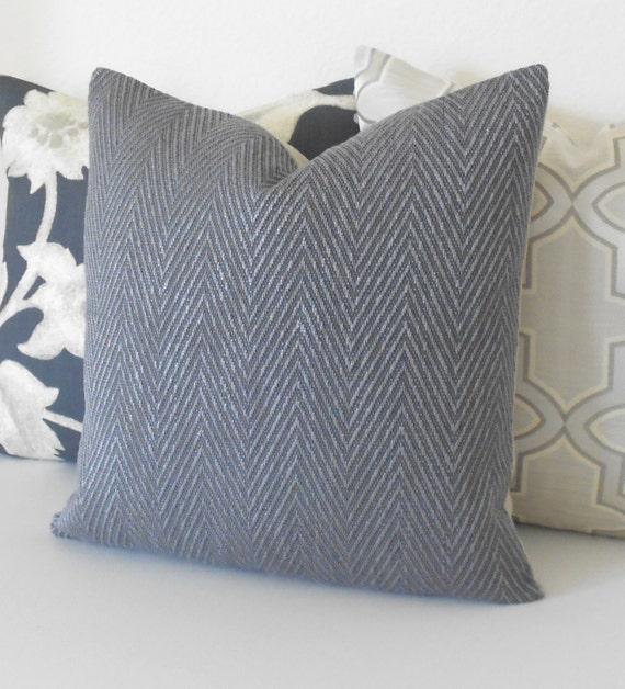 Blue gray chevron herringbone decorative throw pillow cover