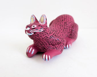 Carved Wood Cat From Oaxaca Mexico - Primitive Folk Art Cat - Pink Cat by Oaxacan Artist Antonio Aragon - Beach House or Cottage Decor