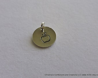 Hand Stamped Apple Charm or Necklace (#1610)