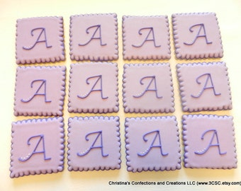 3 Inch Square Monogram Cookie Favors for Weddings and Birthdays (#2363)