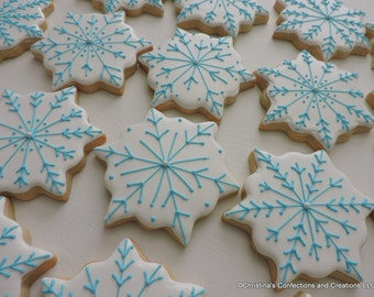 Medium Snowflakes Hand Decorated Sugar cookies for FROZEN birthday parties or winter events (#2397)