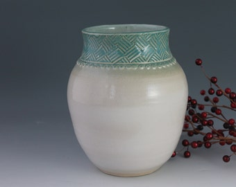 Handmade Pottery Vase with crosshatch on rim - green and white - utensil holder - Small Business Saturday