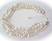 Chunky Pearl necklace ~ Swarovski crystal and pearl rhinestones ~ Brides necklace ~ 4 strands ~ Twisted pearl necklace ~ Wedding necklace