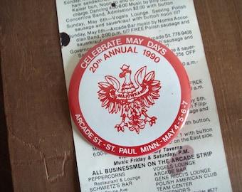 1990 pin back button May Days Polish Days Arcade Street St Paul MN  Free shipping to USA