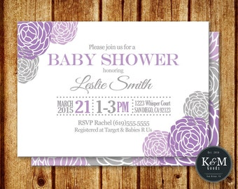 Purple Blooms Baby Shower Invitation / Baby Girl Shower / Purple Flower Baby Shower Invite / Printable Digital File