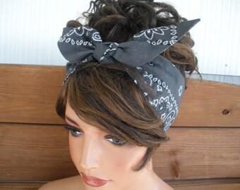 Women's Headband Dolly Bow Retro Headband Fashion Women's Accessories Hair Tie Up Headband Headscarf in Charcoal grey bandana