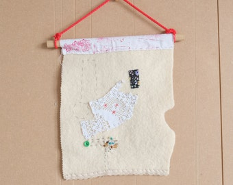 All that's left - small textile wall hanging. Gift