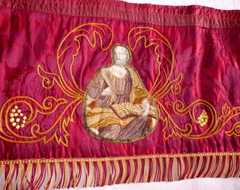 1800s silk altar frontal antependium cloth LONG antique French religious church liturgical fabric w hand woven painted saint w embroidery