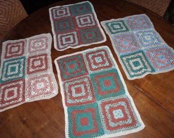 Vintage crocheted granny panels for afghan or blanket throw quilt, granny square handmade retro 1960s French vintage panels sewing supply