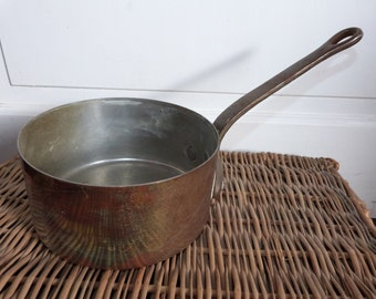 Antique French copper pan pot w iron handle 1800s copper saucepan kitchenware France French country cottage cooking kitchen ware gift