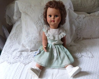 Vintage Italian Ratti Mattel doll antique doll 1950s w crier cry movement system w original label and cloths, shoes, moving limbs and eyes