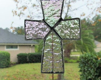 Clear Iridescent Granite Glass Cross - Stained Glass -  Garden/ Marker/Potted Plant Stake/Memorial Marker