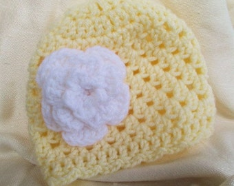Yellow Hat with Flower- Crochet