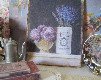 Roses and Lavender Sign/Print for Dollhouse Miniature