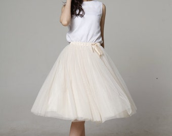 On Sale Size S Tulle Skirt Tea length Tutu Skirt Elastic Waist tulle tutu Princess Skirt Wedding Skirt in Apricot - NC455-14