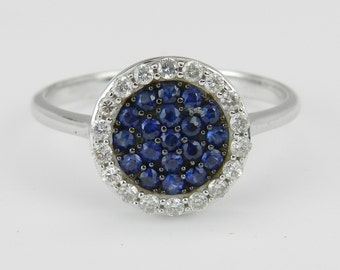 Diamond and Blue Sapphire Halo Cluster Ring 14K White Gold Size 7.25
