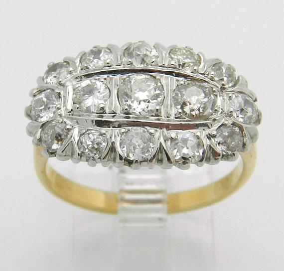 Vintage Ring Antique Ring Diamond Cluster Ring Platinum 14K Yellow Gold 1.25 ct Size 7.5