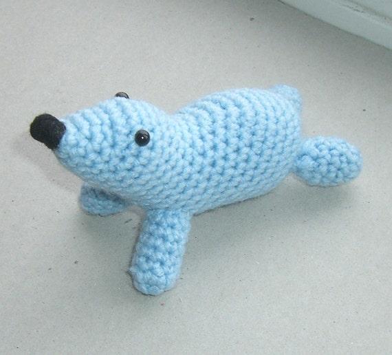 Crochet Amigurumi Seal : Amigurumi seal stuffed animal crochet seal blue by ...