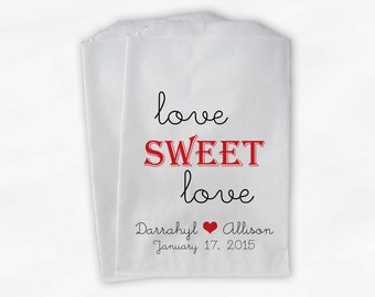 Love Sweet Love Wedding Candy Buffet Treat Bags - Personalized Favor Bags in Black and Red - Custom Paper Bags (0049)