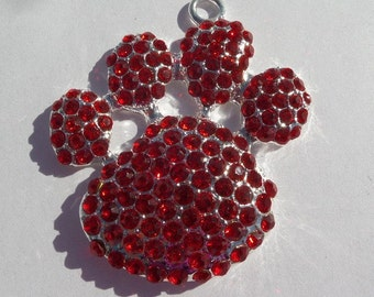 SALE! Regular Price 4.50, 55mm Red Rhinestone Pawprint Pendant for Chunky Necklace, N9