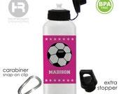 Soccer Water Bottle - Personalized Girls Water Bottle - BPA FREE - School Lunch Water Bottle