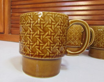 Vintage Brown Ceramic Lattice Stackable Coffee Mugs Set of Four