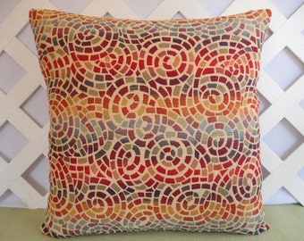 Kaleidoscope Pillow Cover / Geometric Circles Pillow Cover in Red Orange Blue Purple / Accent Pillow / Decorative Pillow