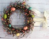 Spring Wreath - Easter Wreath - Pastel Spring Egg Mix Pip Berry Wreath - Primitive Wreaths - Home Decor - Easter Egg - Christmas Gift
