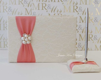 Wedding Guest Book and Pen- Custom Made to Order