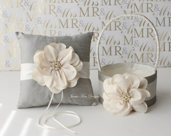 Ring Bearer Pillow/ Wedding Pillow and Flower Girl Basket