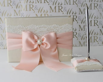 Laced Wedding Guest Book. Sign in Book and pen set