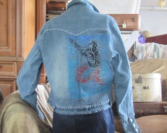 Hand Carved Loteria Sirena On Jean Jacket